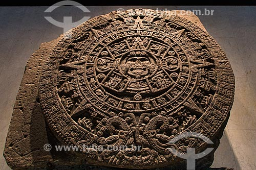 Calenda?rio Maya em exibição no Museu Nacional de Antropologia  - Cidade do México - Distrito Federal - México