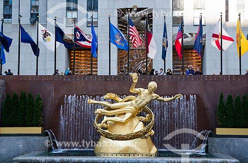 Estátua de Prometheus no Rockefeller Plaza  - Cidade de Nova Iorque - Nova Iorque - Estados Unidos