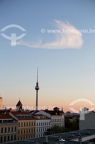Pôr do sol na Torre de TV (Fernsehturm)  - Berlim - Berlim - Alemanha