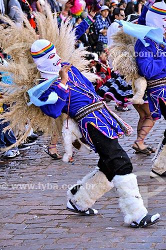 Folião durante o Inti Raymi - festival religioso da civilização Inca em homenagem a Inti, o deus-sol, que marca o solstício de inverno  - Cusco - Departamento de Cusco - Peru