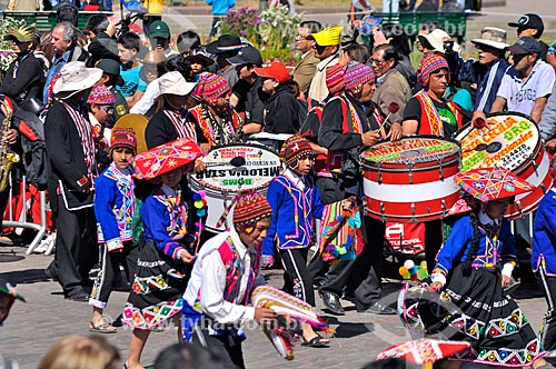 Filiões durante o Inti Raymi - festival religioso da civilização Inca em homenagem a Inti, o deus-sol, que marca o solstício de inverno  - Cusco - Departamento de Cusco - Peru