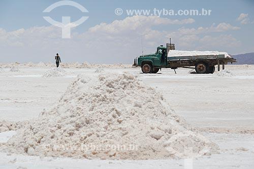 Extração de sal no Salar de Uyuni  - Uyuni - Departamento Potosí - Bolívia