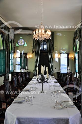 Mesa posta para refeição na sala do castelo da Ilha Fiscal  - Rio de Janeiro - Rio de Janeiro (RJ) - Brasil