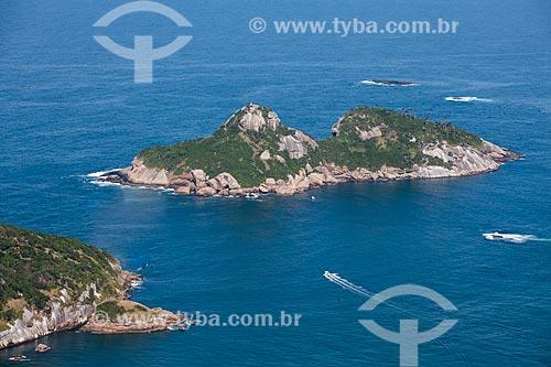 Foto aérea da Ilha Pontuda - parte das Ilhas Tijucas  - Rio de Janeiro - Rio de Janeiro (RJ) - Brasil