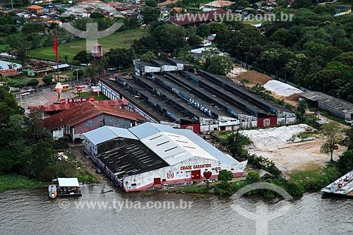 Foto aérea da Cidade Garantido - conjunto de galpões onde as alegorias do Boi Garantido são construídas  - Parintins - Amazonas (AM) - Brasil