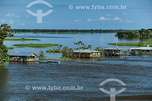 Comunidade Ribeirinha às margens do Rio Amazonas durante a época de cheia  - Careiro da Várzea - Amazonas (AM) - Brasil