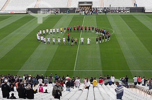 Evento-teste da Arena Corinthians - partida entre os funcionários da construtora Odebrecht em comemoração ao dia do trabalho  - São Paulo - São Paulo (SP) - Brasil