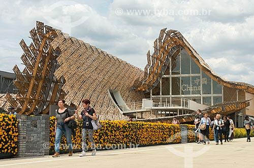 Público no pavilhão da China durante a EXPO 2015 - tema: alimentar o planeta, energia para a vida  - Milão - Província de Milão - Itália