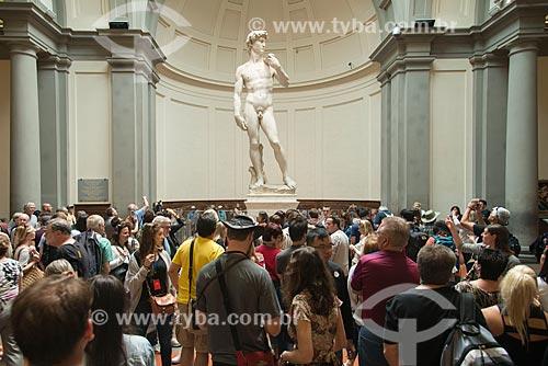 Davi (1504) de Michelangelo em exibição na Galleria dell Accademia di Firenze (Galeria da Academia de Belas Artes de Florença)  - Florença - Província de Florença - Itália
