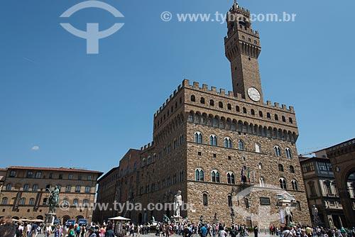 Vista do Palazzo Vecchio (Palácio Vechio) - século XIII - a partir da Piazza della Signoria (Praça da Senhoria)  - Florença - Província de Florença - Itália