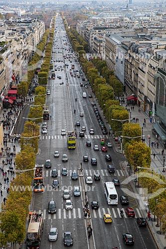 Vista da Avenida Champs-Élysées a partir do Arco do Triunfo  - Paris - Paris - França