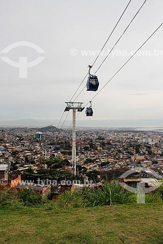 Vista geral do Complexo do Alemão com a Estação Baiana do Teleférico do Alemão - operado pela SuperVia  - Rio de Janeiro - Rio de Janeiro (RJ) - Brasil