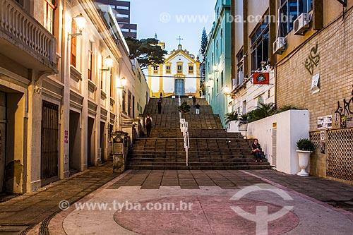 Escadaria do Rosário e Igreja de Nossa Senhora do Rosário e São Benedito (1830) ao fundo  - Florianópolis - Santa Catarina (SC) - Brasil