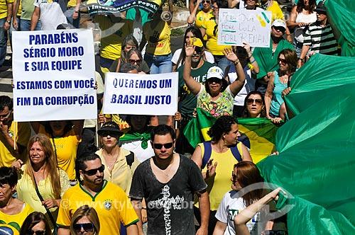 Manifestação contra a corrupção e pelo Impeachment para Presidenta Dilma Rousseff  - São José do Rio Preto - São Paulo (SP) - Brasil