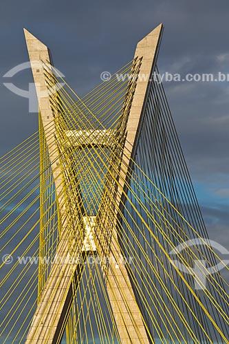 Detalhe da Ponte Octávio Frias de Oliveira (2008) sobre o Rio Pinheiros  - São Paulo - São Paulo (SP) - Brasil