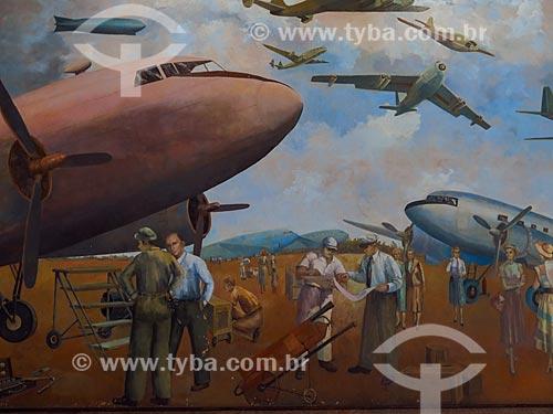 Detalhe do painel Aviação Moderna (1951) de Cadmo Fausto de Sousa no hall do Aeroporto Santos Dumont  - Rio de Janeiro - Rio de Janeiro (RJ) - Brasil