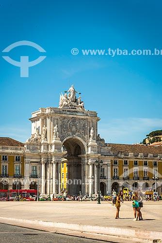 Arco da Rua Augusta (1875) - monumento à grandiosidade portuguesa quanto à descoberta de novos povos e culturas  - Lisboa - Distrito de Lisboa - Portugal