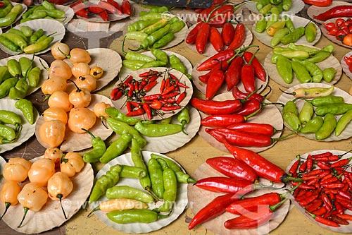 Variedades de pimentas à venda na feira livre  - Rio de Janeiro - Rio de Janeiro (RJ) - Brasil