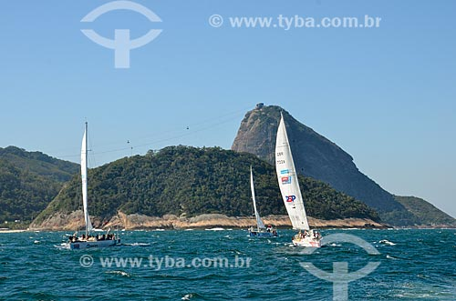 Barcos na Marina da Glória durante a regata Clipper Round The World Race com o Pão de Açúcar ao fundo  - Rio de Janeiro - Rio de Janeiro (RJ) - Brasil