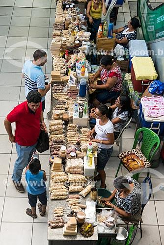 Vista de cima de barraca com grãos e comidas típicas à venda no Shopping da Cidade de Teresina  - Teresina - Piauí (PI) - Brasil