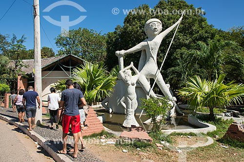 Monumento Cabeça de Cuia (1996) no Parque Municipal do Encontro dos Rios - encontro das águas do Rio Poti e Rio Parnaíba  - Teresina - Piauí (PI) - Brasil