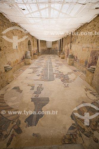 Detalhe de mosaico no interior do Grande Ginásio  da Villa Romana del Casale - antigo palácio construído no século IV  - Piazza Armerina - Província de Enna - Itália
