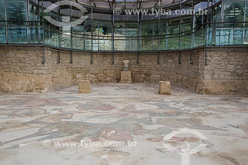 Detalhe de mosaico no interior o triclínio representando o culto à Baco e Hércules - Villa Romana del Casale - antiga palácio construído no século IV  - Piazza Armerina - Província de Enna - Itália