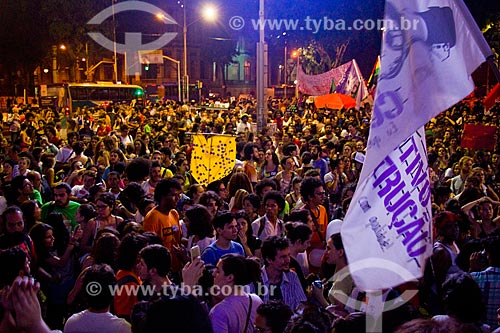 Detalhe de cartazes durante a manifestação Mulheres Contra Cunha - abaixo o PL 5.069 - Pela Legalização do Aborto  - Rio de Contas - Bahia (BA) - Brasil