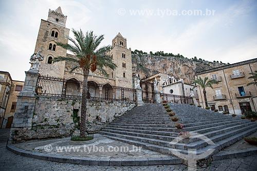 Fachada da Duomo di Cefalù (Catedral de Cefalù) - século XII  - Cefalù - Província de Palermo - Itália