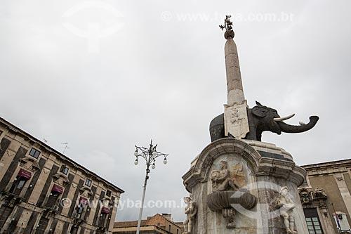 Detalhe da Fontana DellElefante (Fonte do Elefante) - 1737  - Catânia - Província de Catânia - Itália