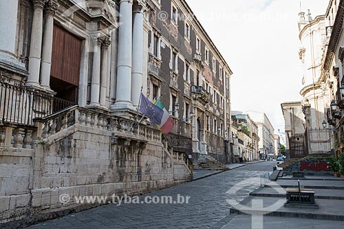 Fachada de prédios na Via dei Crociferi - século XVIII  - Catânia - Província de Catânia - Itália