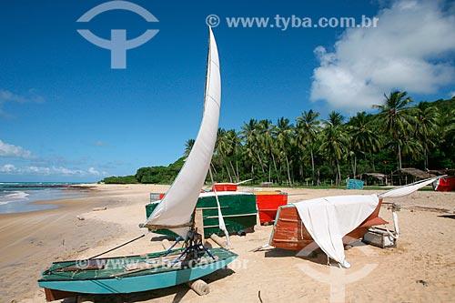 Jangadas atracadas na praia da Baía Formosa  - Baía Formosa - Rio Grande do Norte (RN) - Brasil