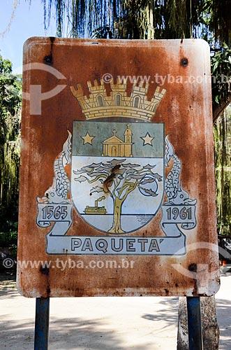 Placa com o brasão da cidade de Ilha de Paquetá  - Rio de Janeiro - Rio de Janeiro (RJ) - Brasil