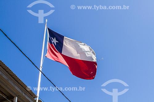 Bandeira do Chile hasteada  - Iquique - Província de Iquique - Chile