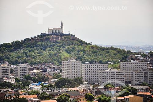 Vista da Igreja de Nossa Senhora da Penha (Século XVIII) a partir de gôndola do Teleférico do Alemão - operado pela SuperVia  - Rio de Janeiro - Rio de Janeiro (RJ) - Brasil