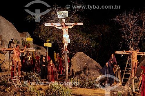 Crucificação de Cristo em Nova Jerusalém - considerado o maior teatro ao ar livre, com cenários dedicados à encenação da Paixão de Cristo de Nova Jerusalém  - Brejo da Madre de Deus - Pernambuco (PE) - Brasil