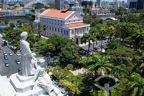 Vista do Teatro Santa Isabel (1850) a partir do Palácio da Justiça (1930) - sede do Tribunal de Justiça de Pernambuco  - Recife - Pernambuco (PE) - Brasil