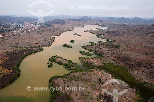 Foto aérea da represa da Usina Hidrelétrica de Aimorés após rompimento da barragem de rejeitos de mineração da empresa Samarco em Mariana (MG)  - Aimorés - Minas Gerais (MG) - Brasil