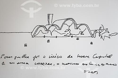 Reprodução do desenho de Oscar Niemeyer para a Igreja São Francisco de Assis (1943) - também conhecida como Igreja da Pampulha - em exposição na própria igreja  - Belo Horizonte - Minas Gerais (MG) - Brasil