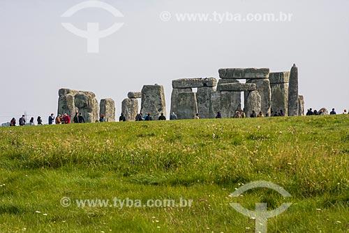 Turistas no Stonehenge  - Amesbury - Condado de Wiltshire - Inglaterra