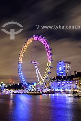 Roda gigante London Eye (1999) - também conhecida como Millennium Wheel (Roda do Milênio) - às margens do Rio Tâmisa  - Londres - Grande Londres - Inglaterra