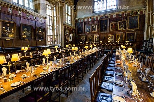 Interior da Faculdade Christ Church (1546) - parte da Universidade de Oxford - utilizada como cenário de diversos filmes, como a série Harry Potter de J. K. Rowling  - Oxford - Condado de Oxfordshire - Inglaterra
