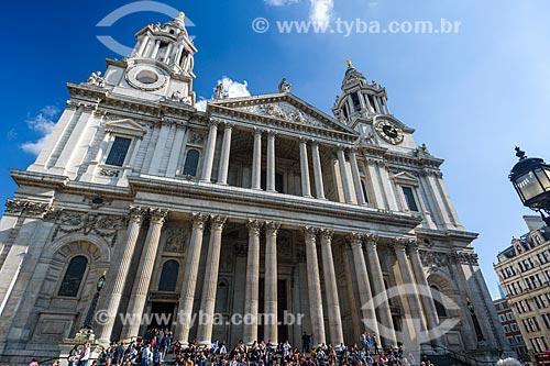 Fachada da St Paul Cathedral (Catedral de São Paulo, o Apóstolo) - 1677  - Londres - Grande Londres - Inglaterra