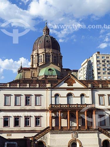 Vista da Cúria Metropolitana de Porto Alegre (1888) com a Catedral Metropolitana de Porto Alegre (1929) ao fundo  - Porto Alegre - Rio Grande do Sul (RS) - Brasil