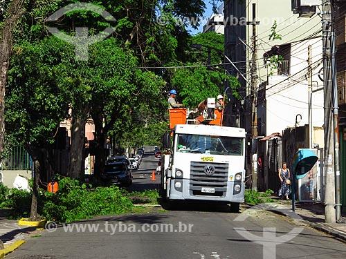 Funcionários da Henerge - concessionária de serviços de transmissão de energia do Rio Grande do Sul - podando árvore  - Porto Alegre - Rio Grande do Sul (RS) - Brasil