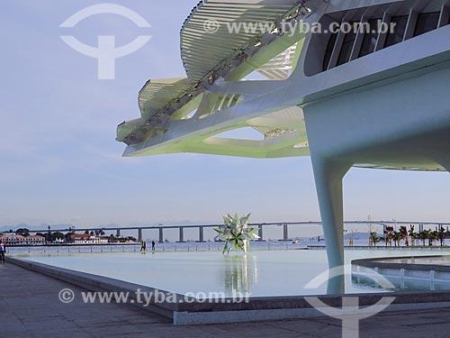 Escultura Diamante Estrela Semente de Frank Stella no espelho dágua do Museu do Amanhã com a Ponte Rio-Niterói ao fundo  - Rio de Janeiro - Rio de Janeiro (RJ) - Brasil