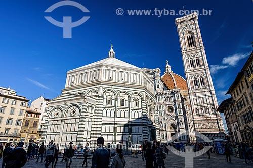 Fachada lateral da Duomo di Firenze - Santa Maria del Fiore (1436)  - Florença - Província de Florença - Itália