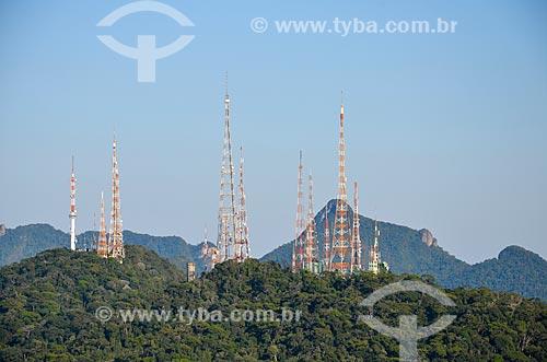 Detalhe de torres de telecomunicação no Morro do Sumaré  - Rio de Janeiro - Rio de Janeiro (RJ) - Brasil