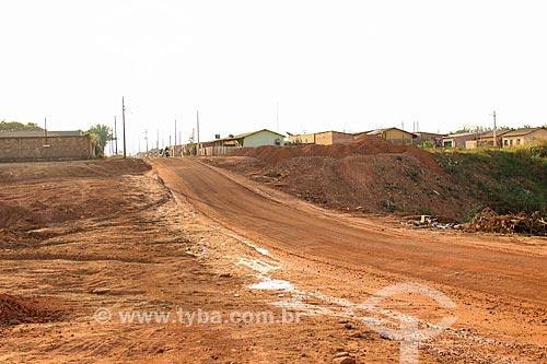Canteiro de obras durante a instalação de saneamento e pavimentação da Rua Açaí  - Porto Velho - Rondônia (RO) - Brasil