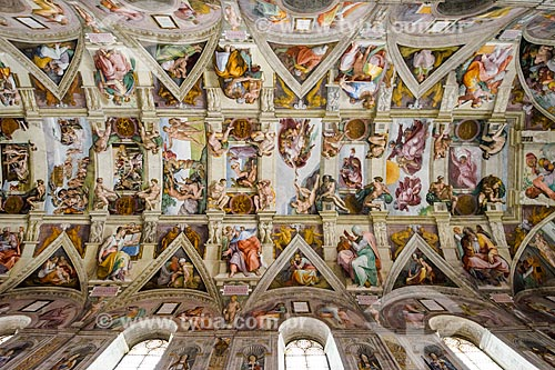 Detalhe do teto da Cappella Sistina (Capela Sistina)  - Cidade do Vaticano - Província de Roma - Itália